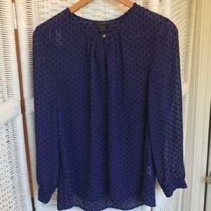 J. Crew Swiss Dot Blouse - Deep Violet - sz 6